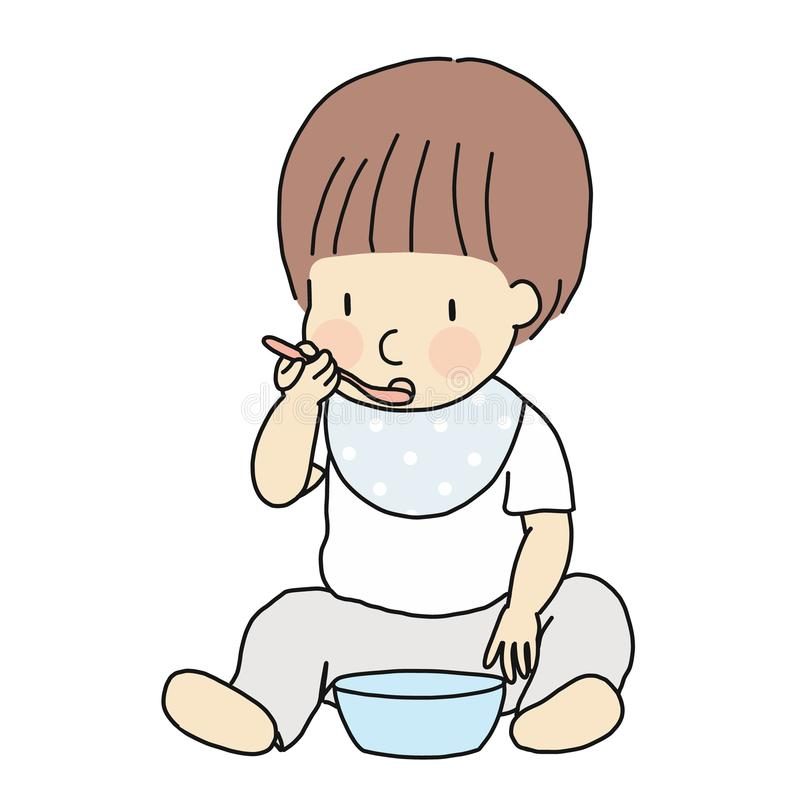 Vector illustration of self-feeding toddler. Little kid learning to eat food in bowl with spoon by self. Childhood developme vector illustration