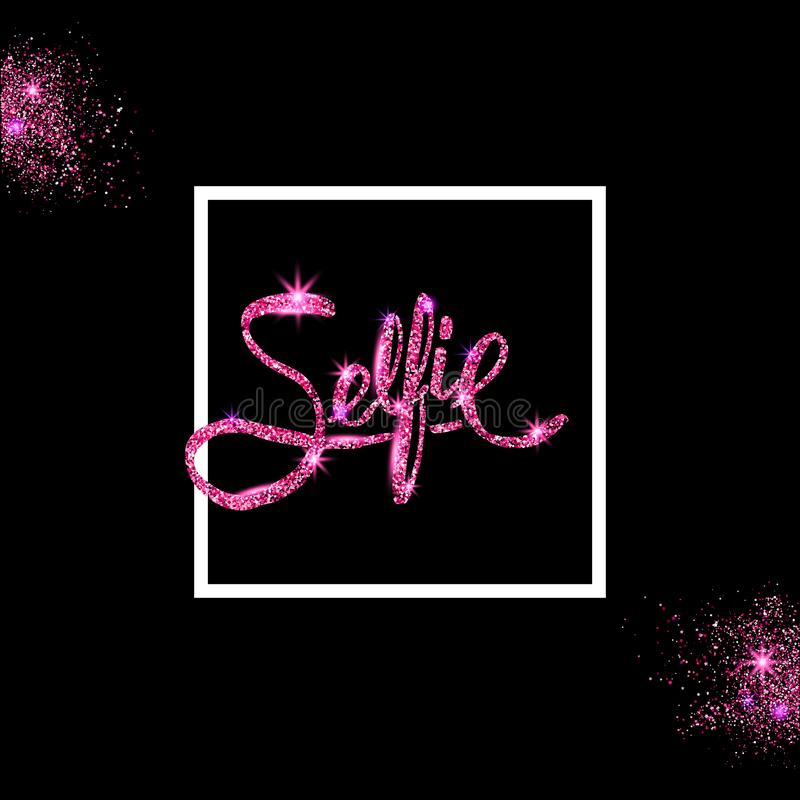 Pink glitter Selfie Concept on Off Black Background with white f stock illustration
