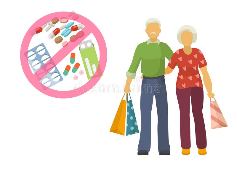 Vector illustration of senior lady and gentleman with silver hair walking together arm-in-arm with purchase bags and no vector illustration