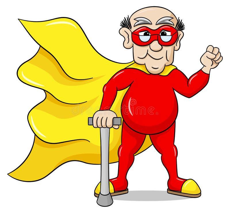 Senior super hero with cape. Vector illustration of a senior super hero with cape stock illustration