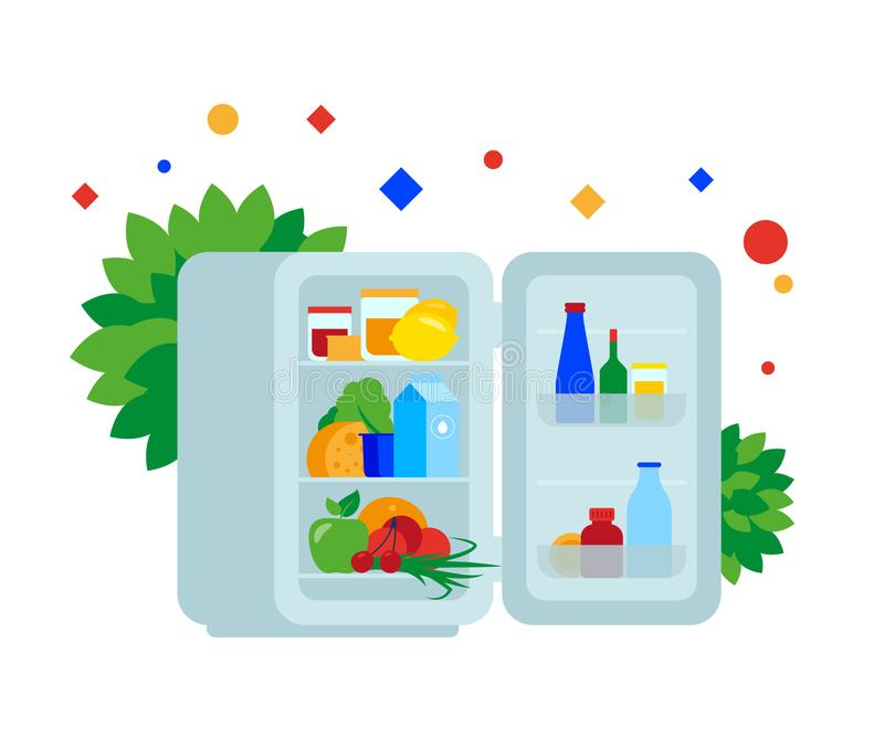 Fridge full of food. stock illustration