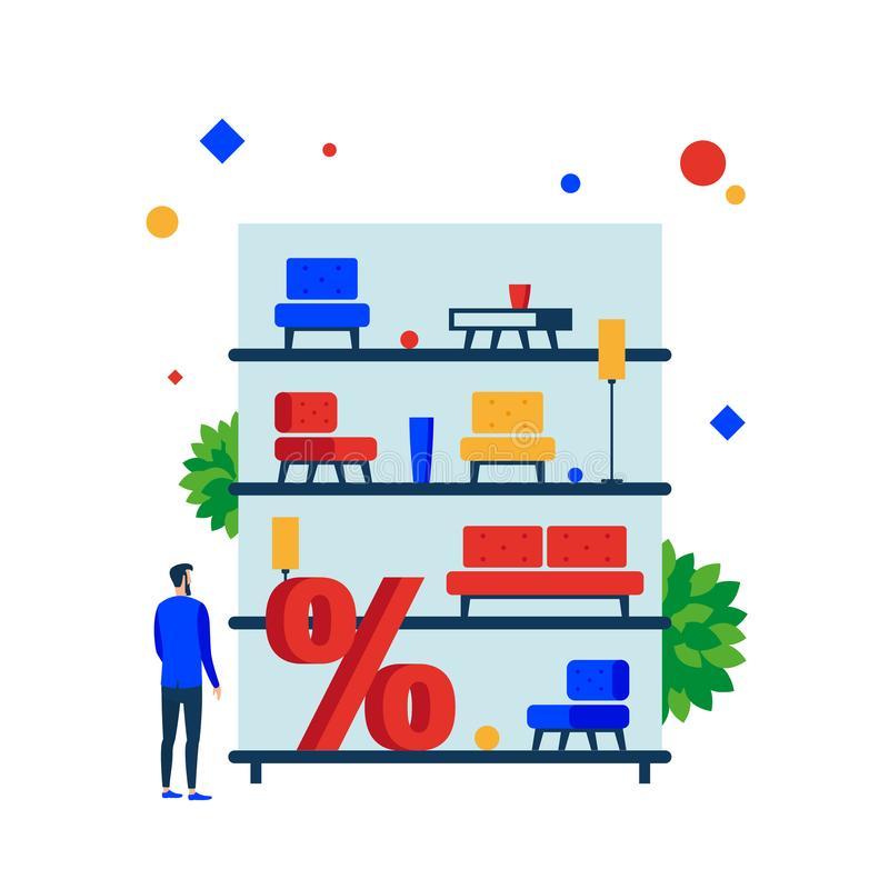 Furniture sale. Shelves with furniture for sale. stock illustration