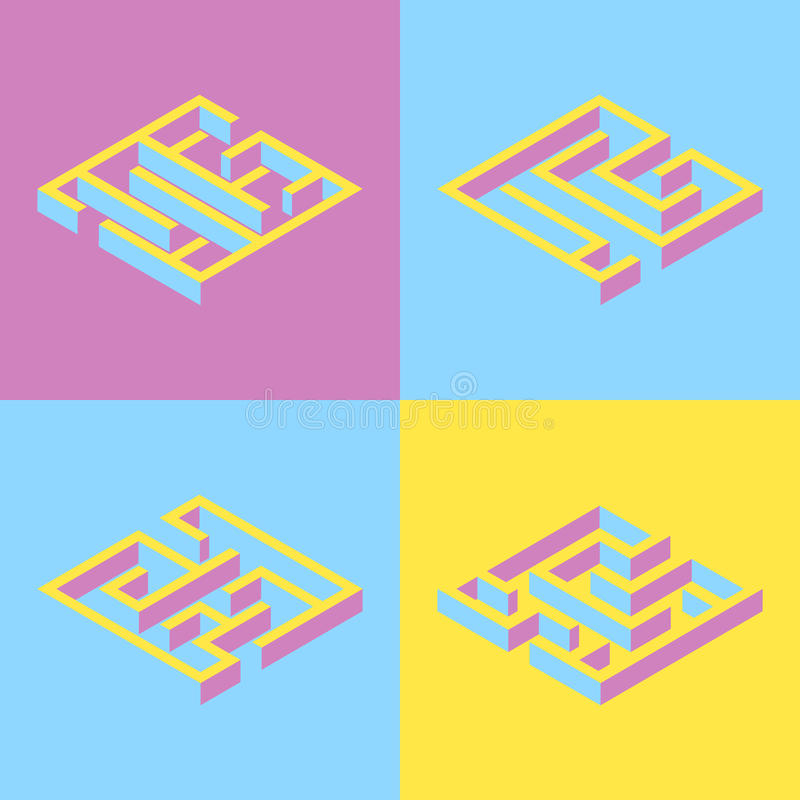 Vector illustration. set of 4 abstract square maze, isometric. y. Ellow, blue purple royalty free illustration