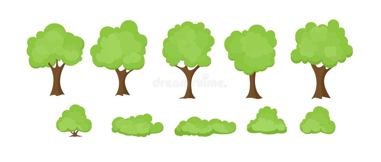 Vector illustration set of abstract stylized trees on white background. Trees and bushes collection in flat cartoon vector illustration
