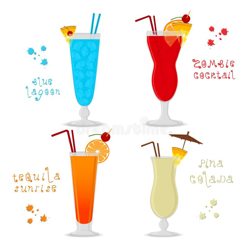 Vector illustration for set alcohol cocktails blue lagoon, zombi. E, pina colada, tequila sunrise. Full glass cup with cocktail, slice fruits. Cocktail lagoon stock illustration