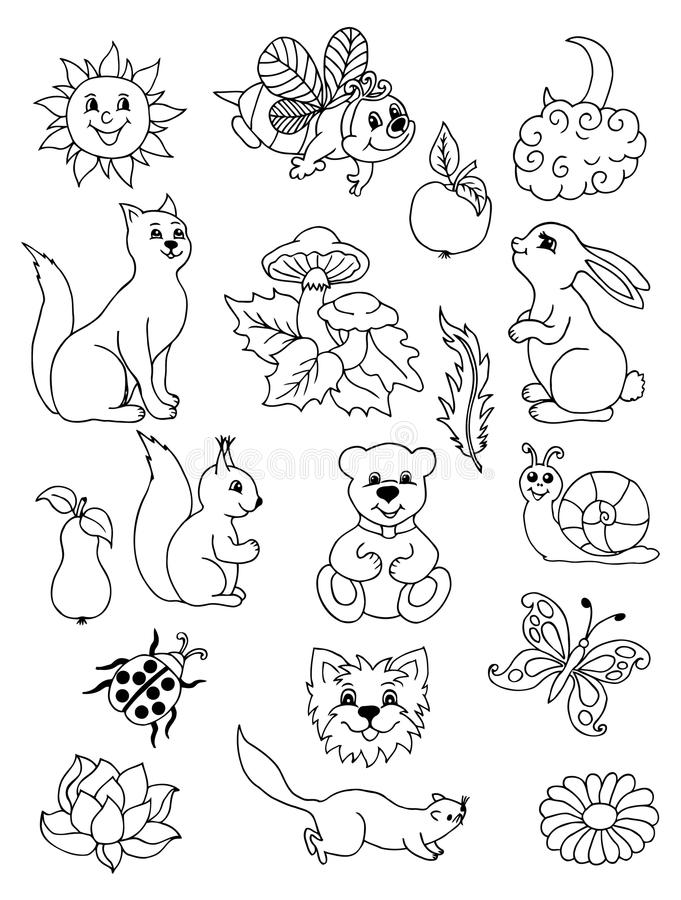 Vector illustration Set of animals and fruit. Doodle drawing. Meditative exercises. Coloring book anti stress for adults. Black wh. Vector illustration Set of vector illustration