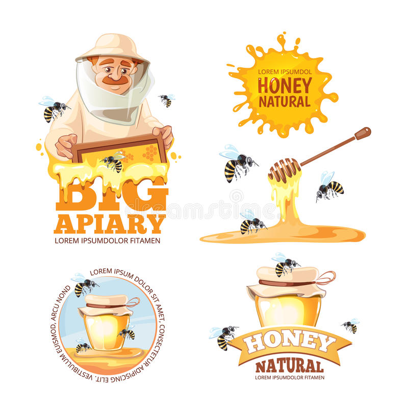 Vector illustration set of Apiary symbols. Bee, honey, bee house, honeycomb. Emblem of Man beekeeer in costume. beehive, wax royalty free illustration