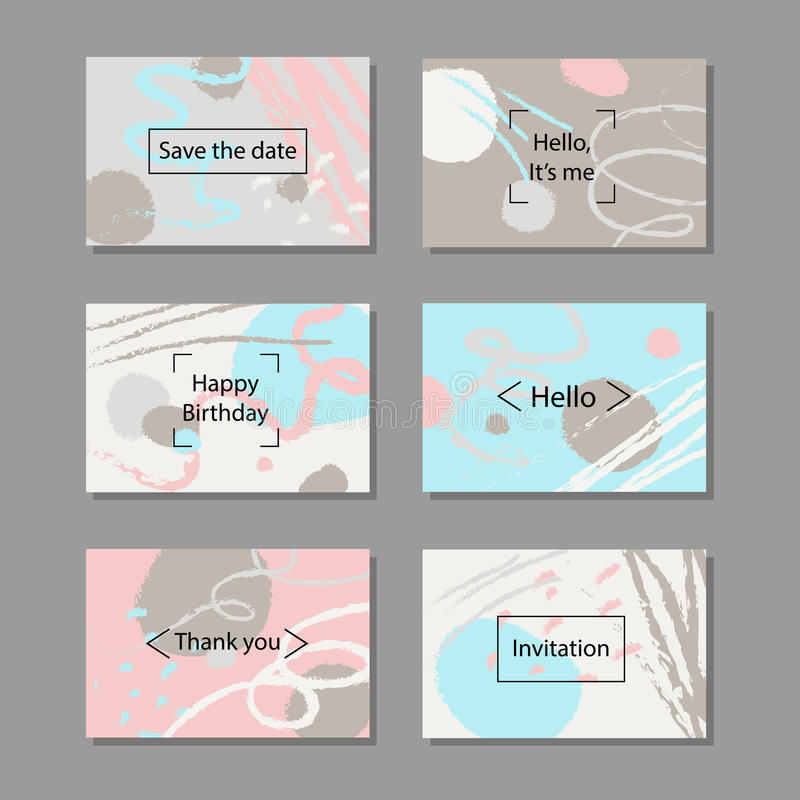 Vector illustration set of artistic colorful universal cards. Brush textures. royalty free illustration