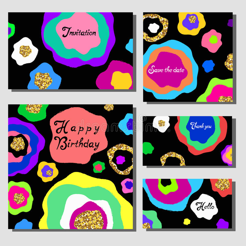 Vector illustration set of artistic colorful universal cards. Wedding, anniversary, birthday, holiday, party. Design for poster. Card, invitation. With golden royalty free illustration