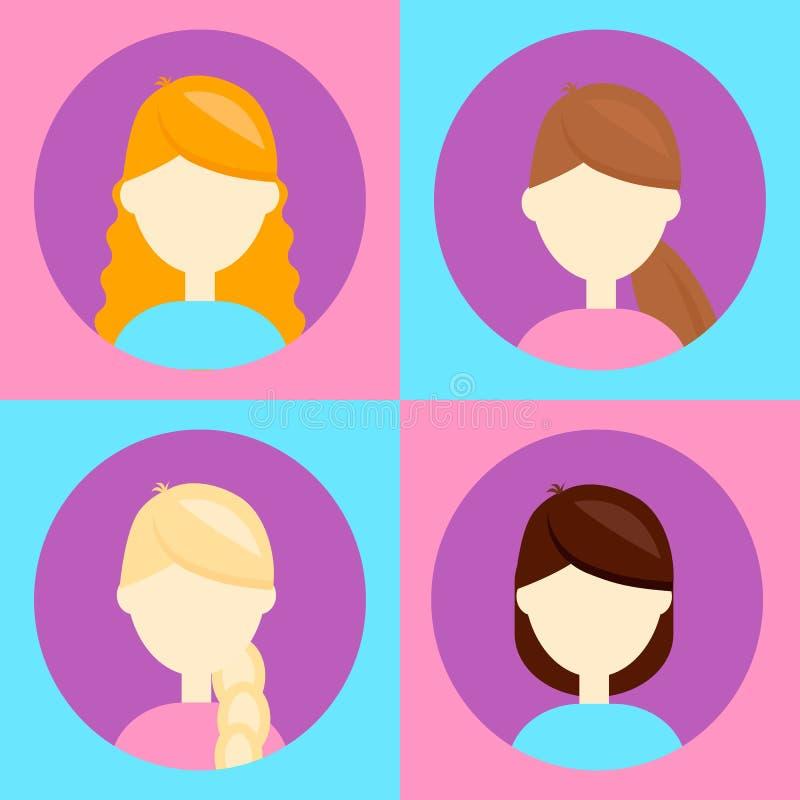 Vector illustration. set 4 avatar for users,flat round icon, fem royalty free illustration
