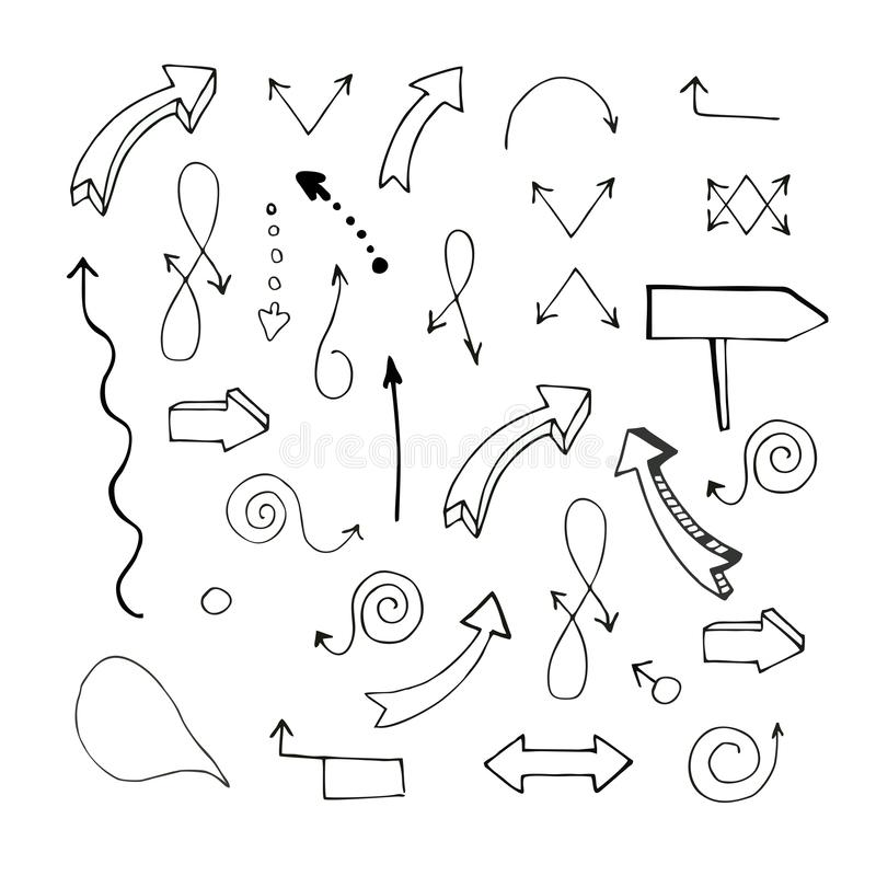 Vector illustration. Set. Badges. Hand-drawn arrows pointing in different directions. Contour, isolated, without background stock illustration