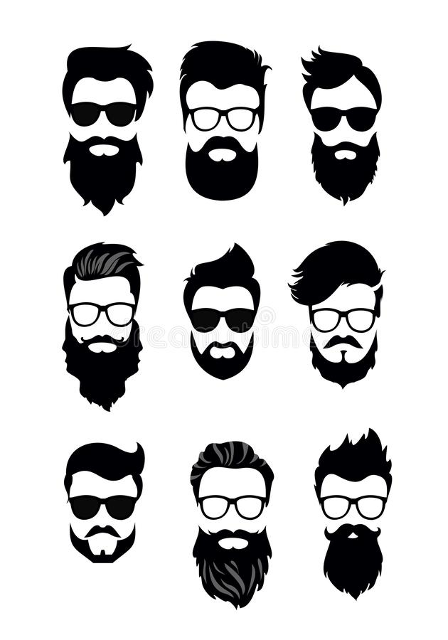 Vector illustration of set of vector bearded men faces, hipsters with different haircuts, mustaches, beards. Silhouettes. Men haircuts flat style stock illustration
