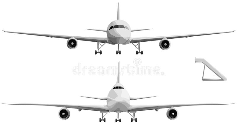 Vector illustration set of big airplane in front. royalty free illustration