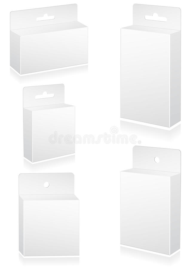 Vector illustration set of blank retail boxes with stock illustration