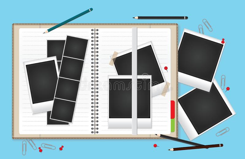 Vector illustration set of blank retro photo frames for your photos. A blank open notebook for your text royalty free illustration