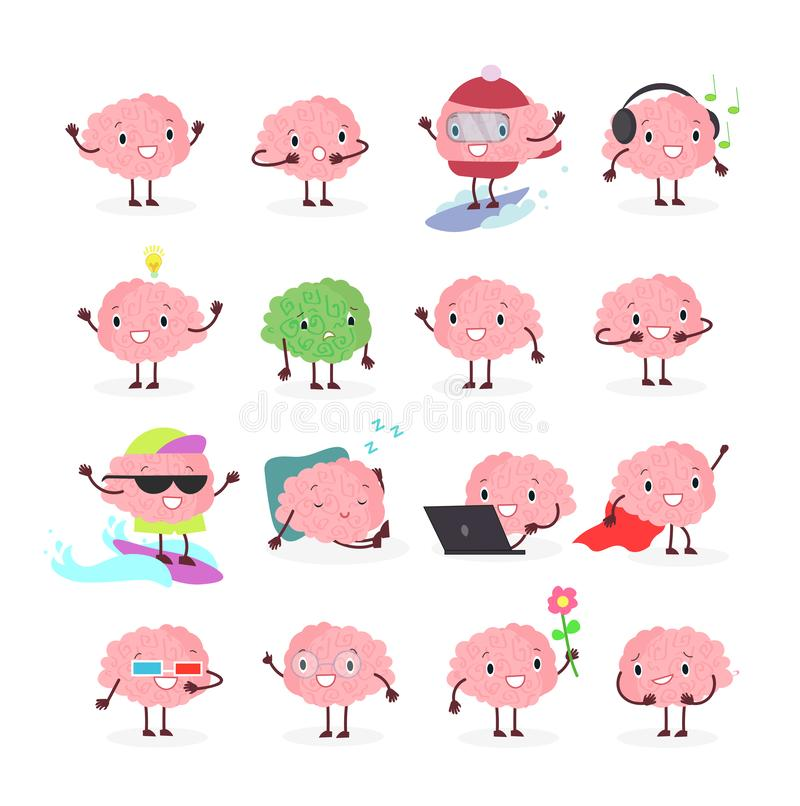 Vector illustration set of brain emoji, emotion brainy character in different positions and emotions, brainstorming set. Isolated on white background in flat stock illustration