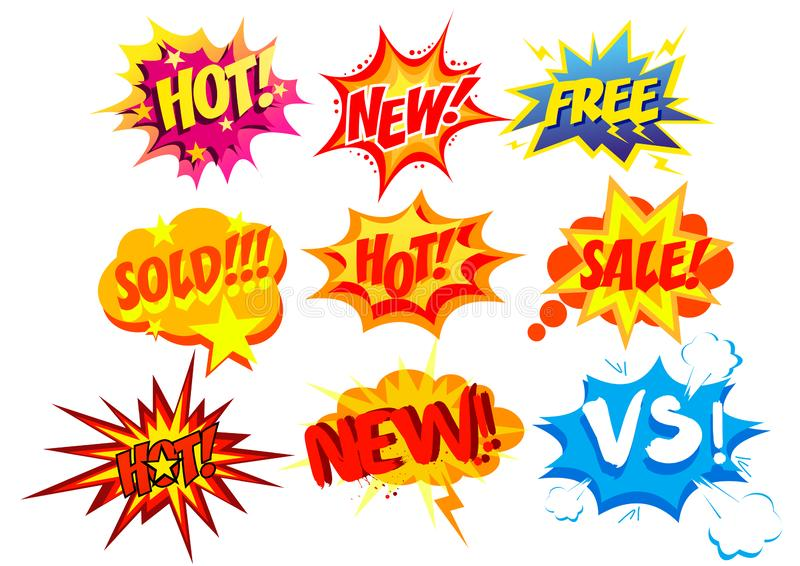 Vector illustration set of bright and colorful cartoon labels. Comic speech bubble background Pop art style. royalty free illustration