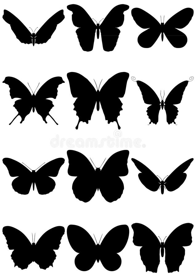 Vector illustration set of butterfly silhouettes. stock illustration