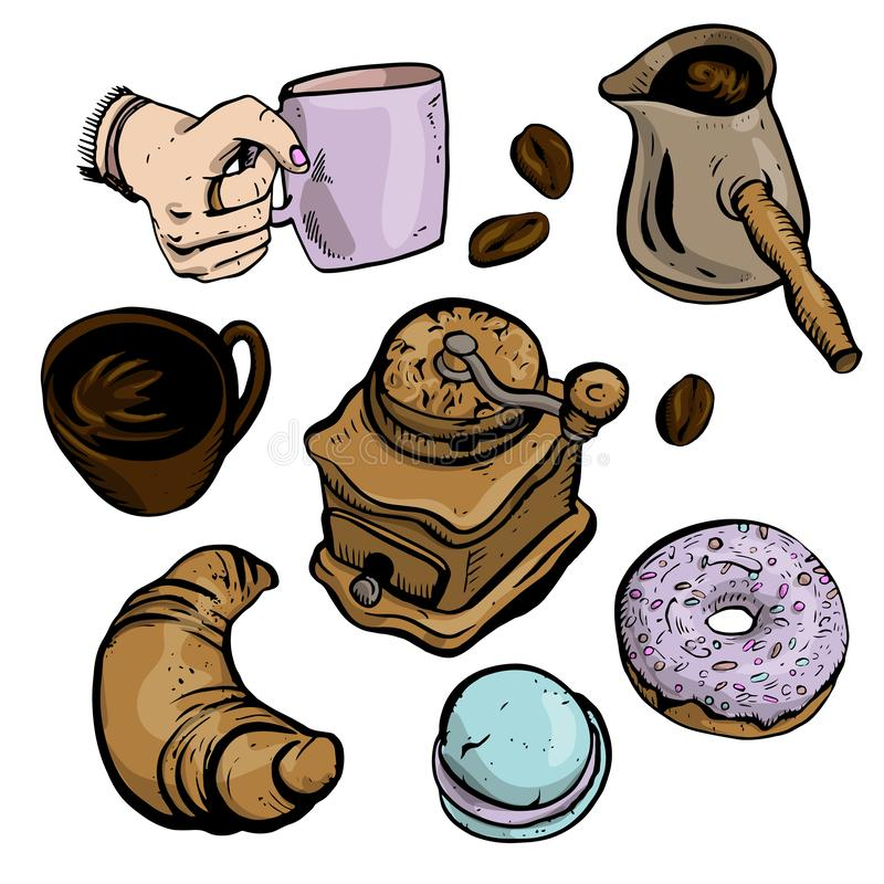 Vector illustration set for cafe advertisement, coffee in brown and violet colours isolated on white background. Turk, donut, royalty free illustration