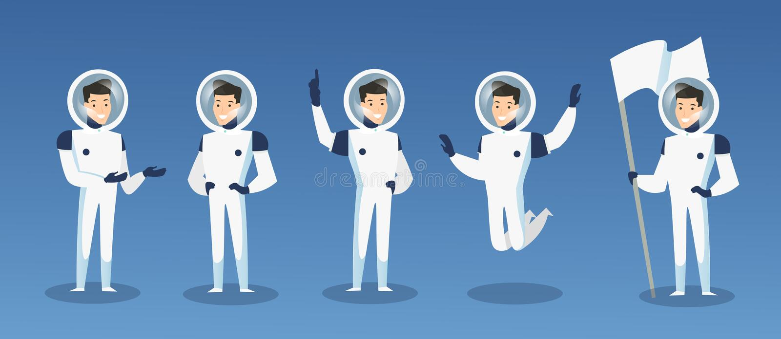 Vector illustration set of cartoon astronauts, spaceman in different positions. Moving cosmonaut in space costume, man vector illustration