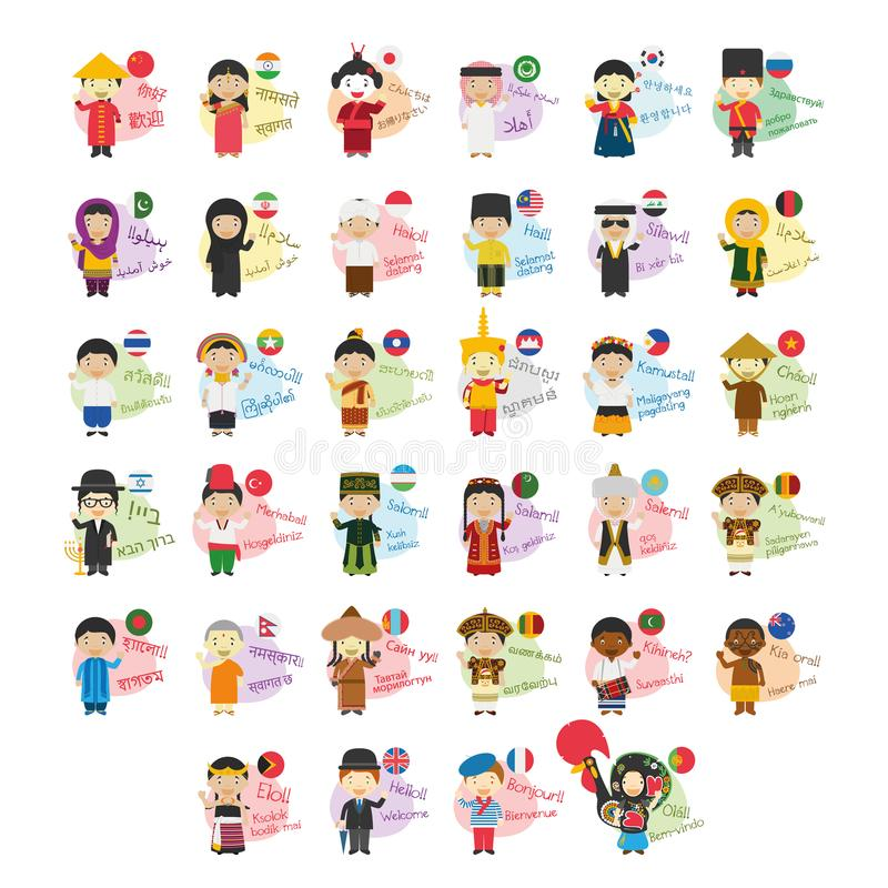 Set of cartoon characters saying hello and welcome in 34 languages spoken in Asia and Oceania. Vector illustration set of cartoon characters saying hello and vector illustration