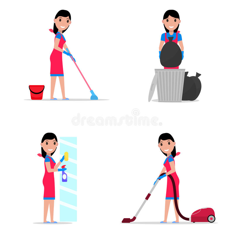 Vector illustration of a set cartoon girl cleaning royalty free stock image