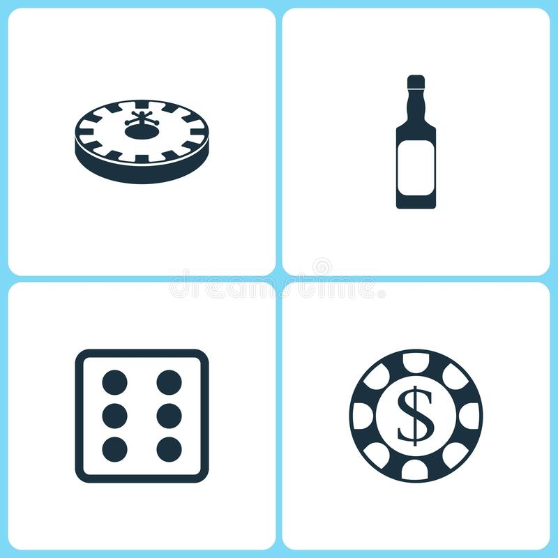 Vector Illustration Set Casino Icons. Elements of Roulette, Whiskey bottle, Dice game and Gambling chips icon stock illustration