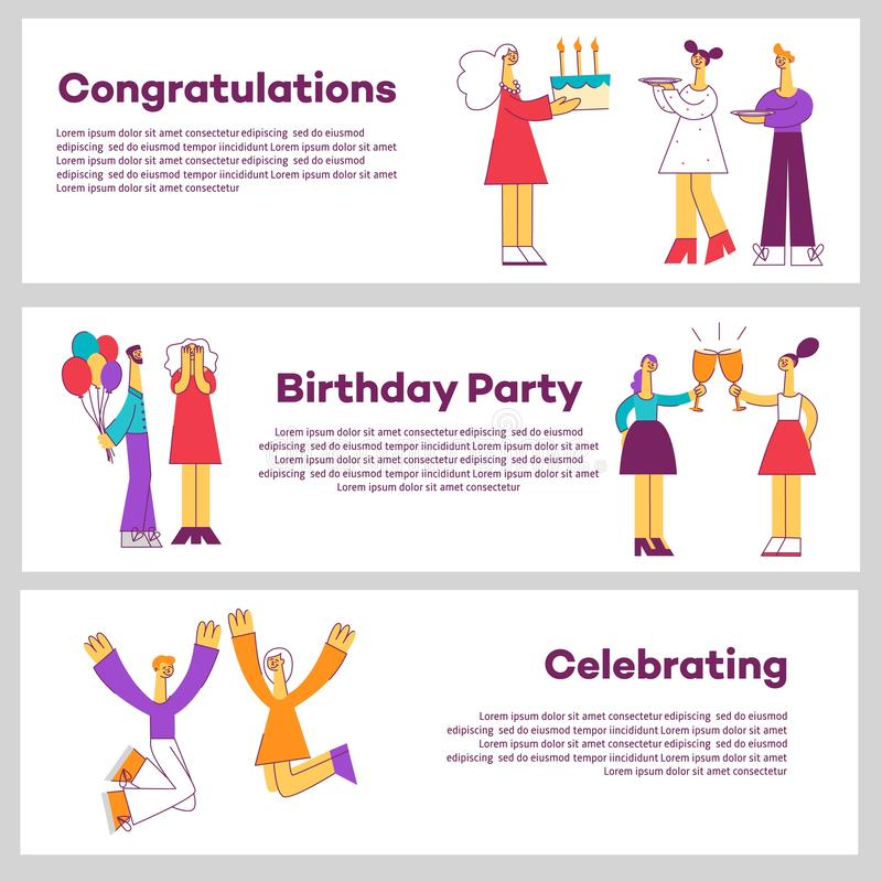 Vector illustration set of celebrating horizontal banners with various people at holiday party. stock illustration