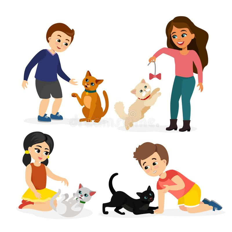 Vector illustration set of children and cats. Happy, funny kids playing, love and taking care of kittens, pet animals in stock illustration