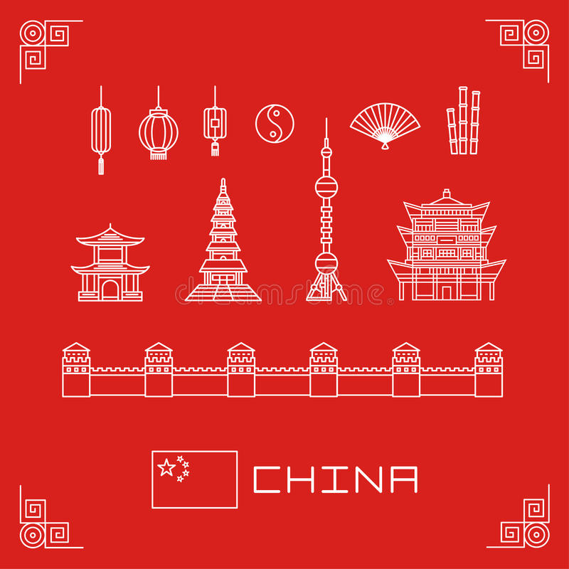 Vector illustration set china buildings pagoda, lantern, flag, fan, flat line design royalty free illustration