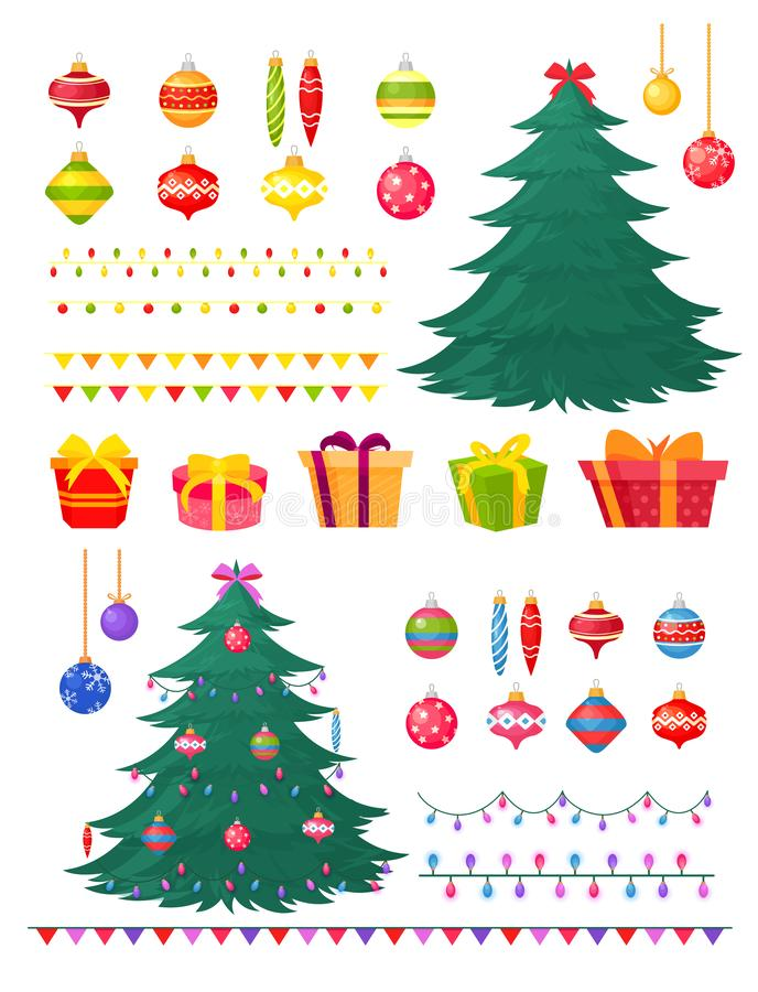 Vector illustration set of Christmas tree with decorations and gift boxes. Winter decore - toys, garlands, balls, xmas royalty free illustration