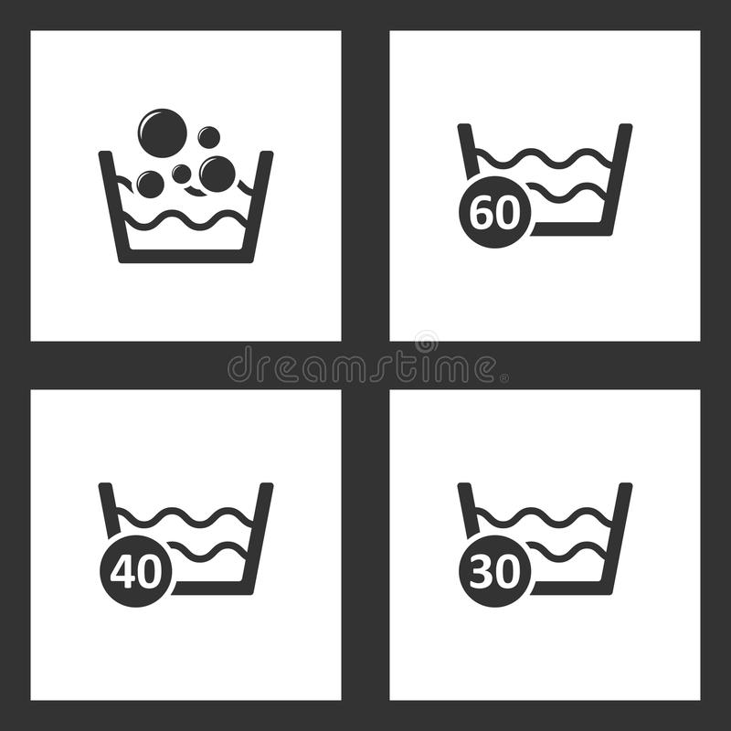 Vector Illustration Set Cleaning Icons. Elements of Basin with soap suds and water, 60 degrees washing laundry, 40 degree water an vector illustration