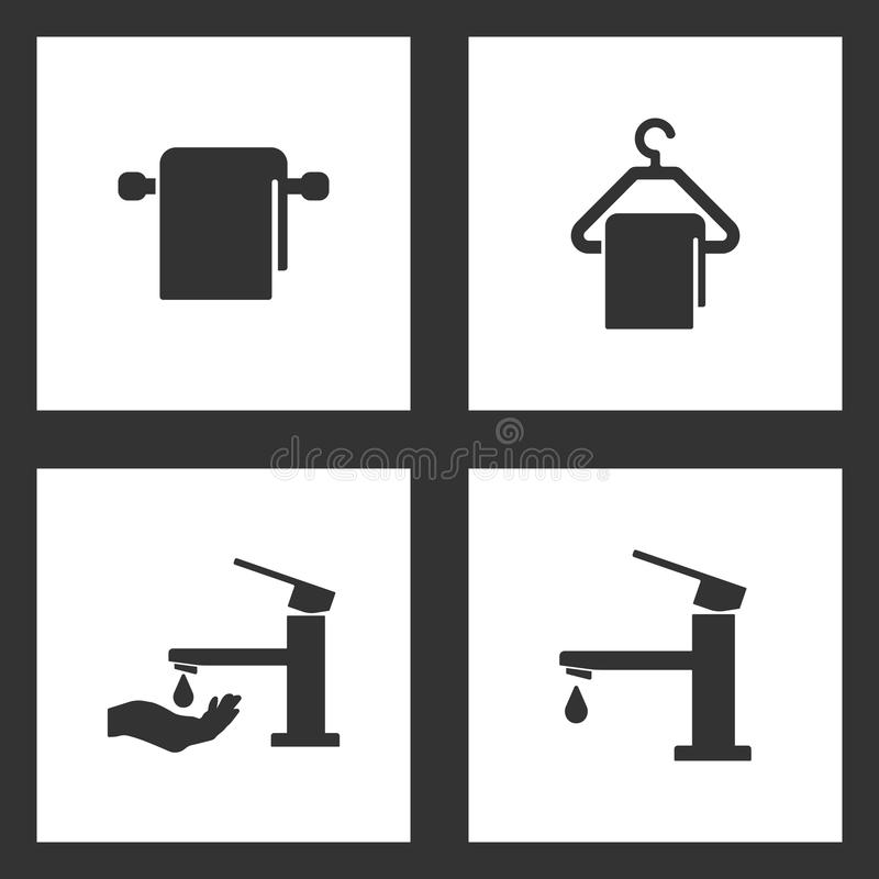 Vector Illustration Set Cleaning Icons. Elements of Towel and hanger, Towel and hanger, Faucet with hand tap symbol and Water tap vector illustration
