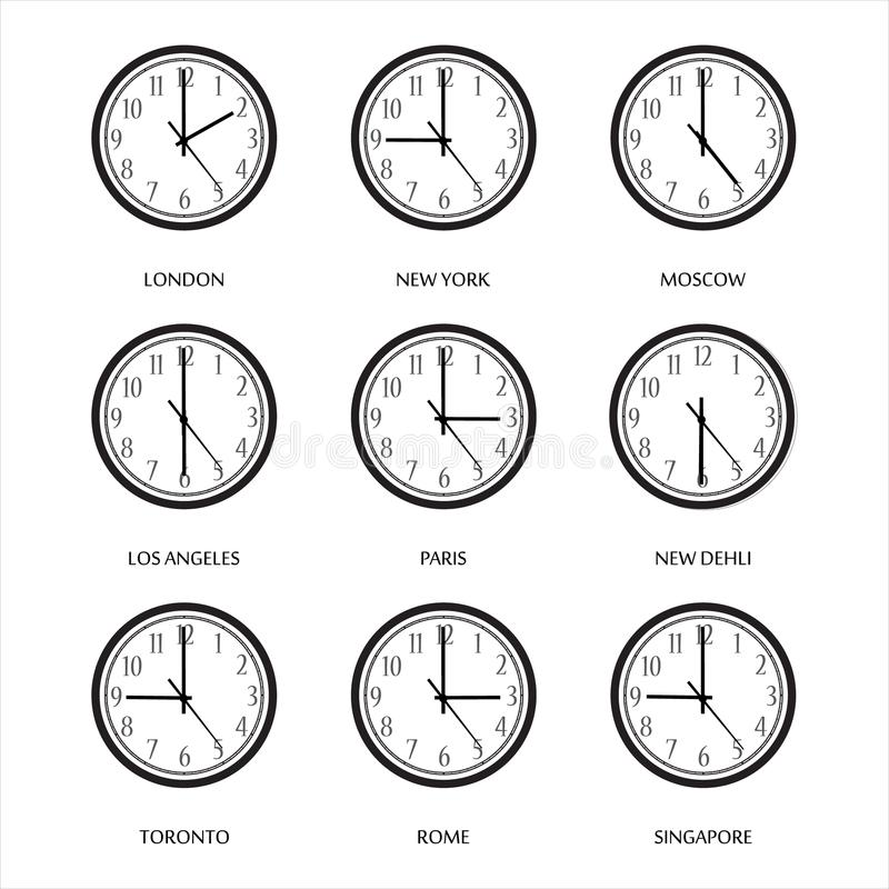 Time zone. Vector illustration set, collection wall clock with time zones. London, Moscow, Berlin, New York, Tel Aviv vector illustration
