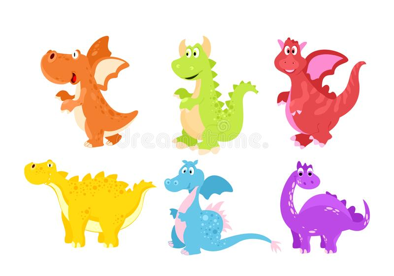 Vector illustration set of colorful funny dinosaurs in cartoon flat style. Vector illustration set of colorful funny dinosaurs in cartoon flat style royalty free illustration