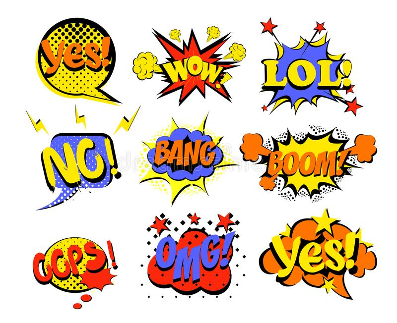 Vector illustration set of comic text, Pop Art style popular words yes, no, lol and oops. Omg, wow and other bright vector illustration
