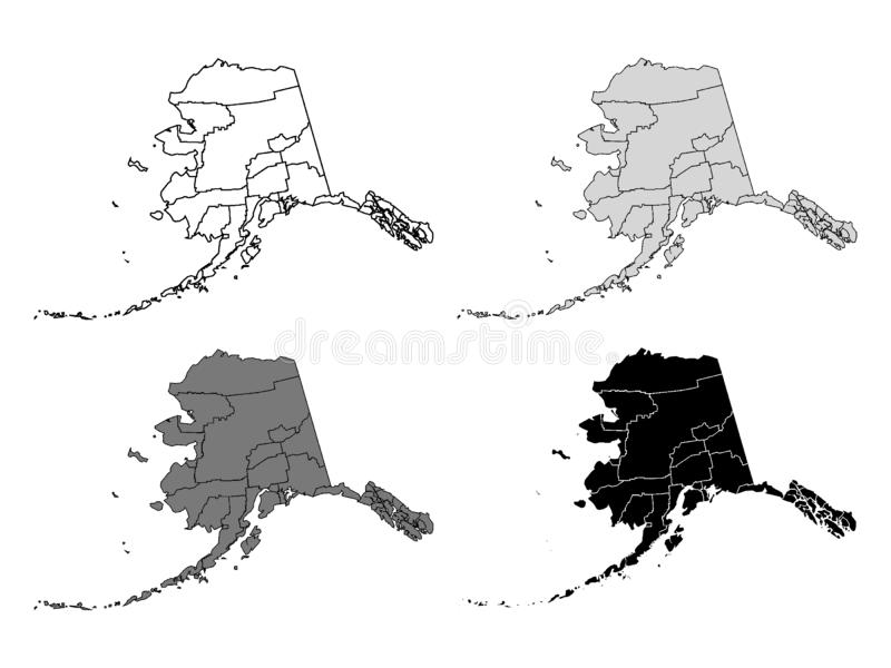 Set of Counties Maps of US State of Alaska. Vector illustration of the Set of Counties Maps of US State of Alaska royalty free illustration