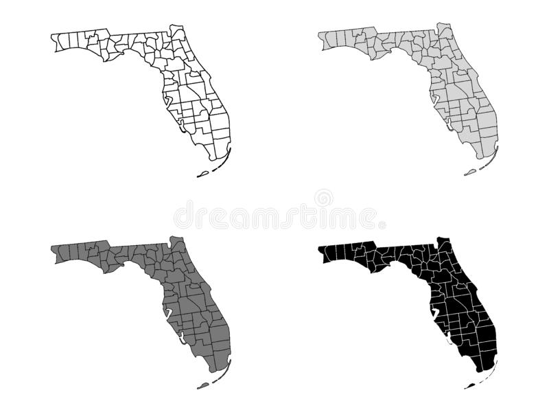 Set of Counties Maps of US State of Florida. Vector illustration of the Set of Counties Maps of US State of Florida royalty free illustration