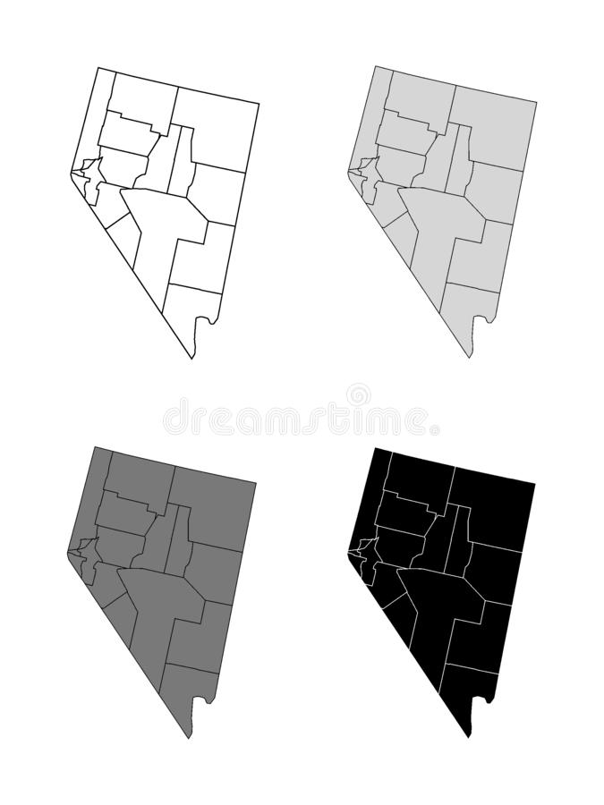 Set of Counties Maps of US State of Nevada. Vector illustration of the Set of Counties Maps of US State of Nevada vector illustration