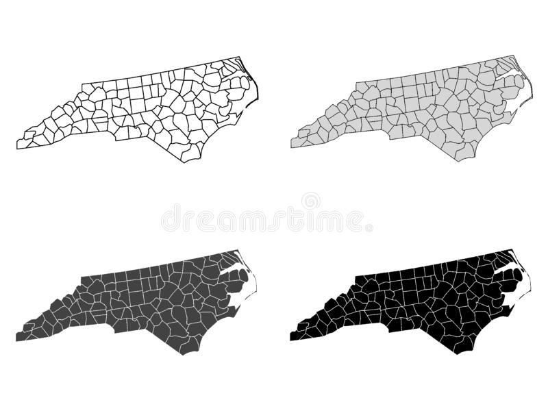Set of Counties Maps of US State of North Carolina. Vector illustration of the Set of Counties Maps of US State of North Carolina stock illustration