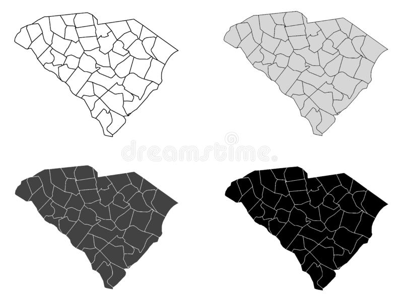 Set of Counties Maps of US State of South Carolina. Vector illustration of the Set of Counties Maps of US State of South Carolina vector illustration