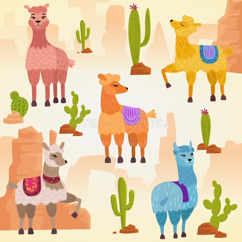 Vector Illustration set of cute vector alpaca lama and cactus with stones and rocks. royalty free illustration