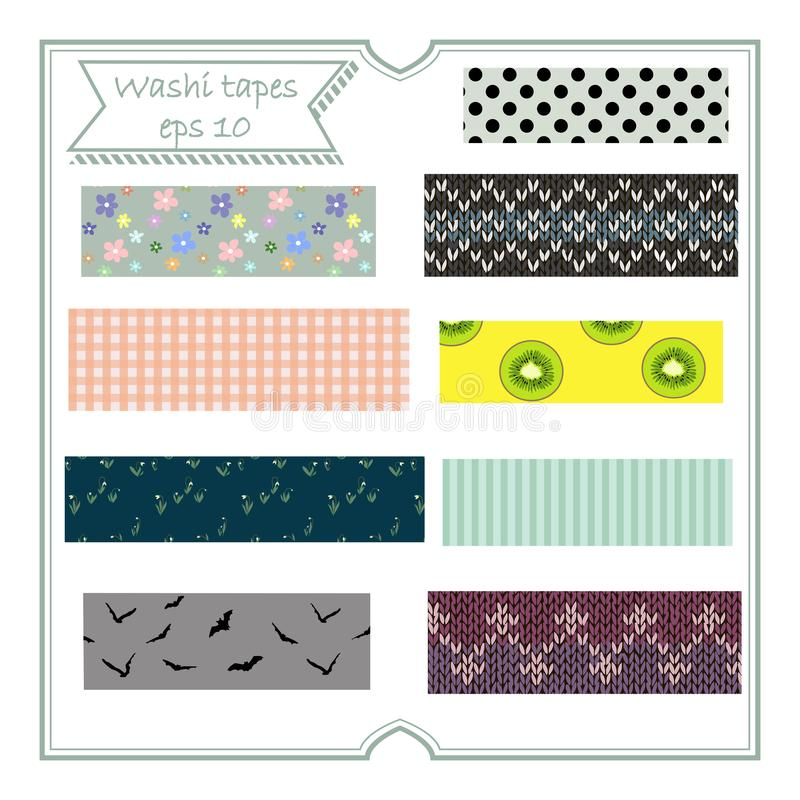Vector illustration set of cute colorful hand drawn masking tape Washi tape fabric strip, blank tags label stickers with pattern vector illustration