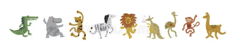Vector illustration set of cute dancing animals in cartoon style. Ostrich, lion, monkey, crocodile, hippo, zebra, kangaroo, leopard, llama. Children print vector illustration
