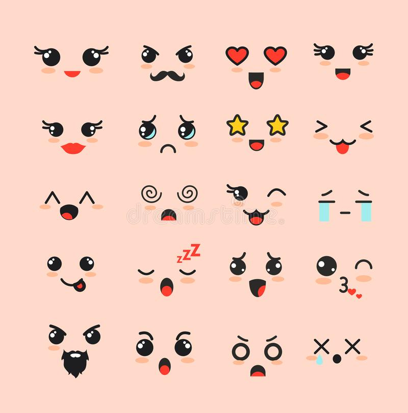 Vector illustration set of cute faces, different Kawaii emoticons, emoji adorable characters icons design on white stock illustration