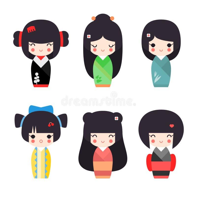 Vector illustration set of cute Japanese kokeshi dolls stock photography
