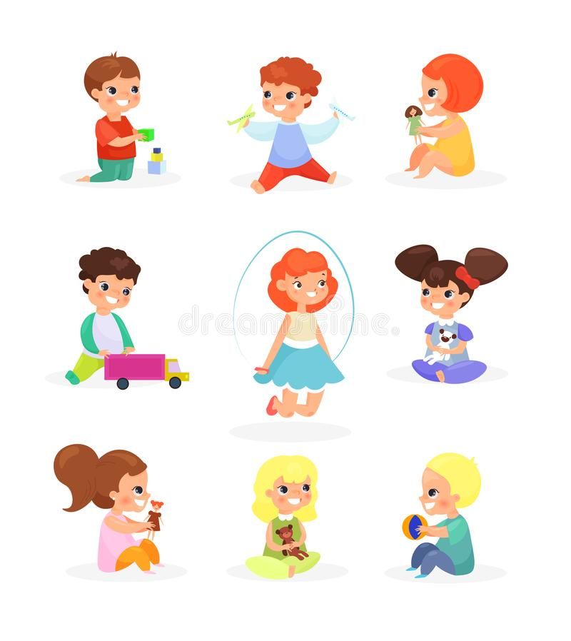 Vector illustration set of cute kids playing with toys, dolls, jumping, smiling. Happy children having fun, cartoon flat. Style vector illustration