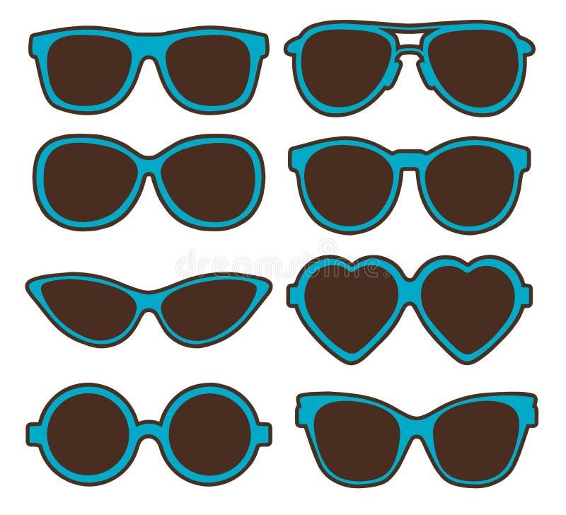 Vector illustration set of different shaped eyeglasses royalty free illustration