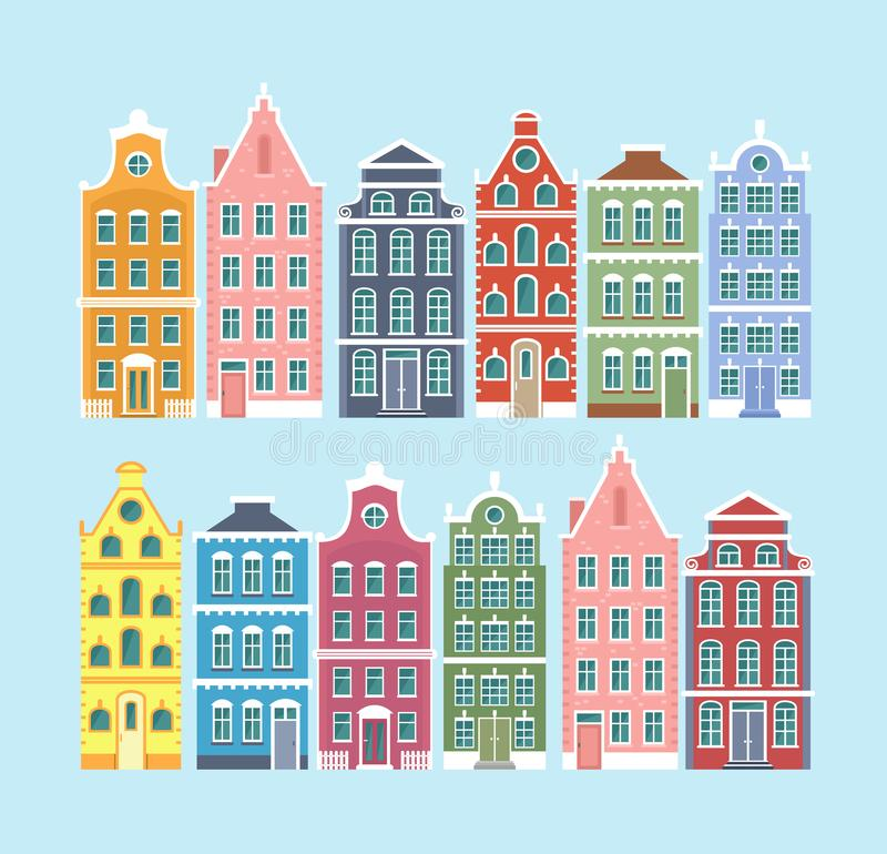 Vector illustration set of european old style colorful houses isolated on light blue color background. Dutch, Netherland vector illustration
