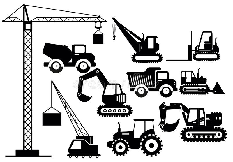 Vector illustration set of excavators and heavy construction machines icons. Silhouette illustration equipment and. Machinery on white background royalty free illustration